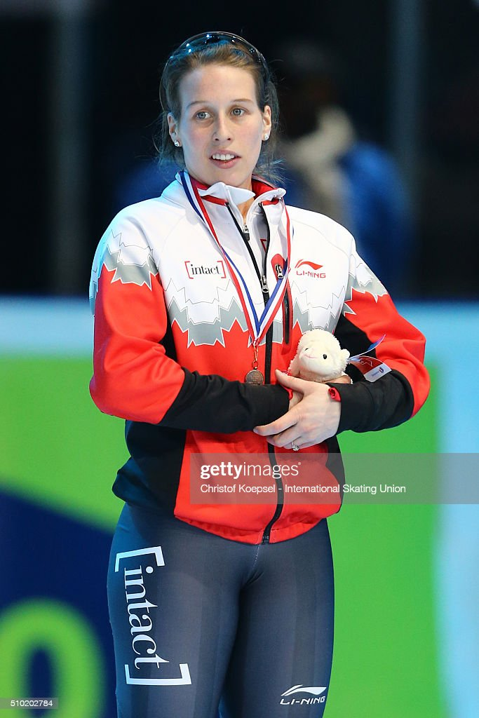 Marianne St-Gelais of Canada poses during the medal ceremony after winning the 3rd place of the ladies 500m final A during Day 3 of ISU Short Track World Cup at Sportboulevard on February 14, 2016 in Dordrecht, Netherlands.