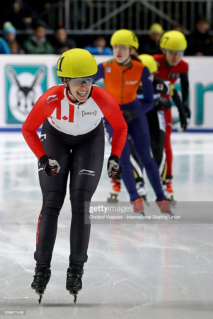<a gi-track='captionPersonalityLinkClicked' href=/galleries/search?phrase=Marianne+St-Gelais&family=editorial&specificpeople=5579569 ng-click='$event.stopPropagation()'>Marianne St-Gelais</a> of Canada touches the finish lane as the winner during the ladies 1500m final A during Day 2 of ISU Short Track World Cup at Sportboulevard on February 13, 2016 in Dordrecht, Netherlands.