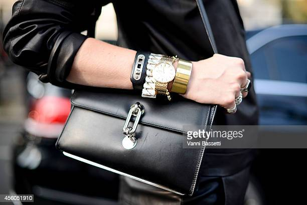 Marianne Theodorsen poses wearing a Tom Wood overall and Balenciaga bag on September 24 2014 in Paris France
