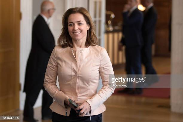 Marianne Thieme leader of the Party for the Animals arrives for a meeting at the House of Representatives at the Dutch Parliament following the...
