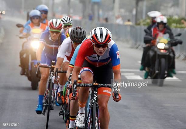 Marianne Vos of Netherlands leads the break away in the women's cycling road race on Day 2 of the Olympics August 7 2016 in Rio de Janeiro Brazil