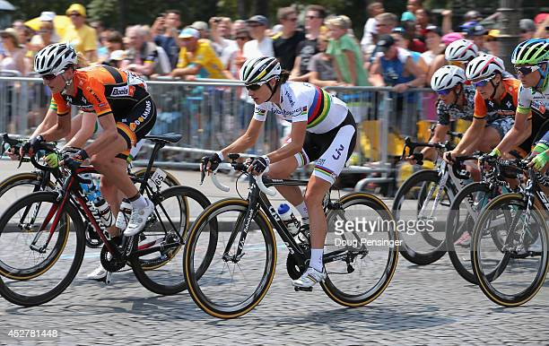 Marianne Vos of the Netherlands and Rabo Liv in action during 'La Course by Le Tour de France' on July 27 2014 in Paris France In this historic first...