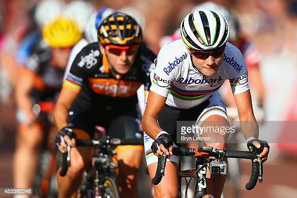 Marianne Vos of The Netherlands and the RaboLiv team leads race winner Giorga Bronzini of Italy and Wiggle Honda during the Prudential RideLondon...