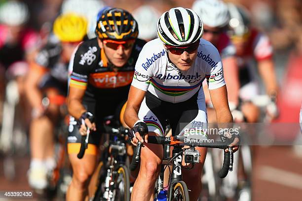Marianne Vos of The Netherlands and the RaboLiv team leads race winner Giorgia Bronzini of Italy and Wiggle Honda during the Prudential RideLondon...