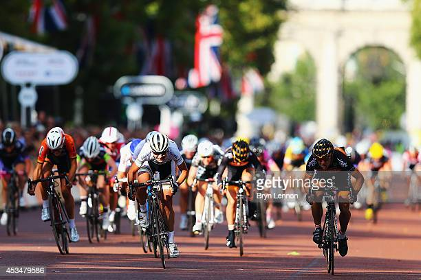 Marianne Vos of The Netherlands and the RaboLiv team sprints for the finish line during the Prudential RideLondon Grand Prix Pro Womens race in St...