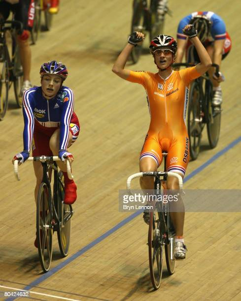 Marianne Vos of The Netherlands celebrates victory in the Women's Points Race Final during the UCI Track Cycling World Championships at the...