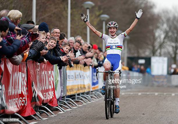 Marianne Vos of the Netherlands celebrates winning the women's race during the 3rd International Rucphen Cyclocross event on January 18 2014 in...