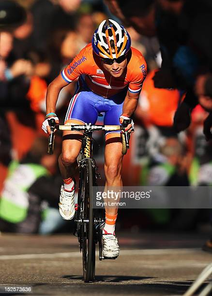 Marianne Vos of the Netherlands climbs the Cauberg during the Elite Women's Road Race on day seven of the UCI Road World Championships on September...