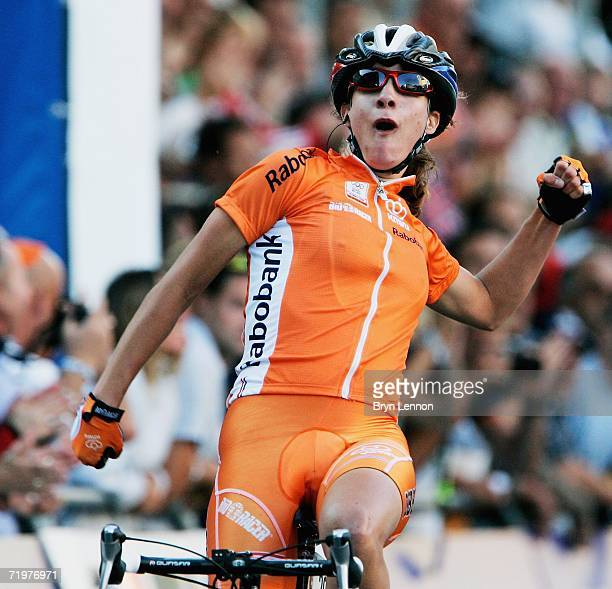 Marianne Vos of the Netherlands crosses the line to win the Elite Women's Road Race in the 2006 UCI Road World Championships on 23 September 2006 in...