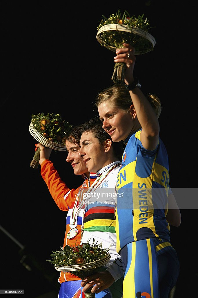<a gi-track='captionPersonalityLinkClicked' href=/galleries/search?phrase=Marianne+Vos&family=editorial&specificpeople=779313 ng-click='$event.stopPropagation()'>Marianne Vos</a> of the Netherlands, <a gi-track='captionPersonalityLinkClicked' href=/galleries/search?phrase=Giorgia+Bronzini&family=editorial&specificpeople=2501868 ng-click='$event.stopPropagation()'>Giorgia Bronzini</a> of Italy and <a gi-track='captionPersonalityLinkClicked' href=/galleries/search?phrase=Emma+Johansson&family=editorial&specificpeople=5400693 ng-click='$event.stopPropagation()'>Emma Johansson</a> of Sweden celebrate after the Women's Elite Road Race on day four of the UCI Road World Championships on October 2, 2010 in Geelong, Australia.