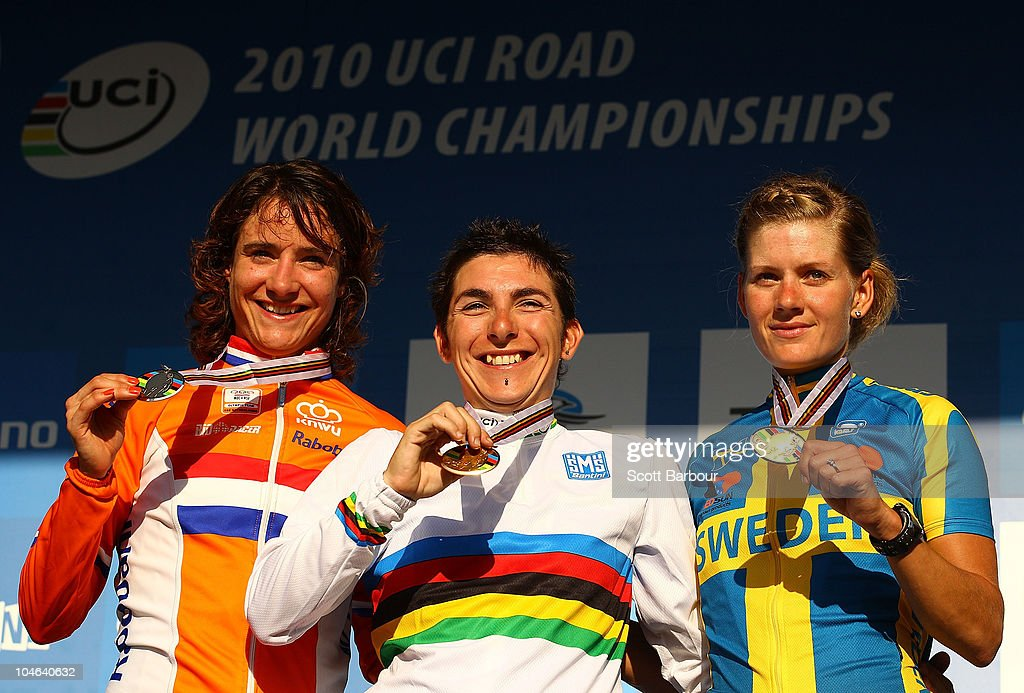 <a gi-track='captionPersonalityLinkClicked' href=/galleries/search?phrase=Marianne+Vos&family=editorial&specificpeople=779313 ng-click='$event.stopPropagation()'>Marianne Vos</a> of the Netherlands, <a gi-track='captionPersonalityLinkClicked' href=/galleries/search?phrase=Giorgia+Bronzini&family=editorial&specificpeople=2501868 ng-click='$event.stopPropagation()'>Giorgia Bronzini</a> of Italy and Emma Johansson of Sweden pose with their medals during the medal presentation for the Women's Elite Road Race on day four of the UCI Road World Championships on October 2, 2010 in Geelong, Australia.