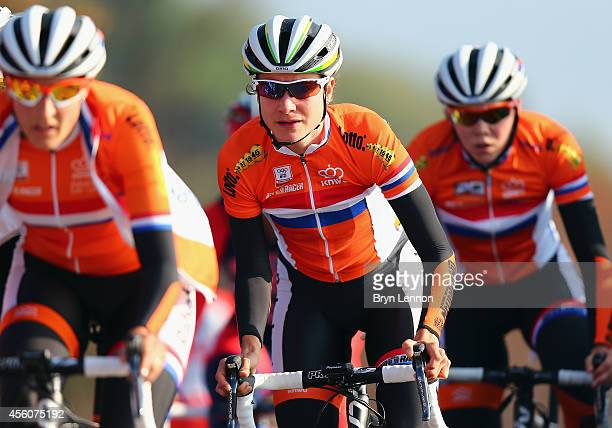 Marianne Vos of The Netherlands in action during training for the UCI World Road Race Championships on September 25 2014 in Ponferrada Spain