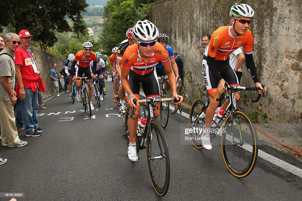 <a gi-track='captionPersonalityLinkClicked' href=/galleries/search?phrase=Marianne+Vos&family=editorial&specificpeople=779313 ng-click='$event.stopPropagation()'>Marianne Vos</a> of the Netherlands rides with the Dutch team during training on day five of the UCI Road World Championships on September 26, 2013 in Florence, Italy.