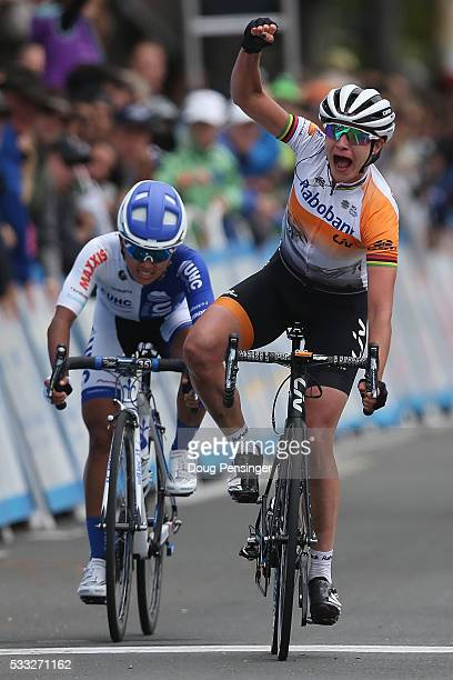 Marianne Vos of The Netherlands riding for RaboLiv Women Cycling Team celebrates her victory ahead of Coryn Rivera of the United States riding for...