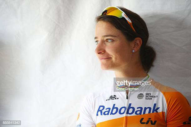 Marianne Vos of the Netherlands riding for team RaboLiv Women Cycling Team waits for the podium presentation following stage four of the Amgen...