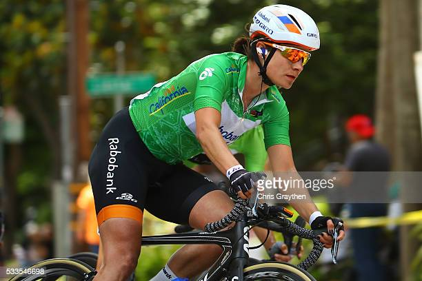Marianne Vos of the Netherlands riding for team RaboLiv Women Cycling Team rides in the peloton during stage four of the Amgen Breakaway From Heart...