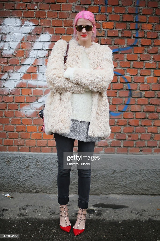 Marianne wears Valentino shoes outside the Fendi Fashion Show on day 2 of Milan Fashion Week Womenswear Autumn/Winter 2014 on February 20, 2014 in Milan, Italy.