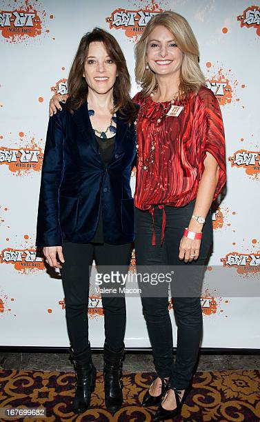 Marianne Williamson and Lisa Bloom attend Get Lit Presents The 2nd Annual Classic Slam at Orpheum Theatre on April 27 2013 in Los Angeles California