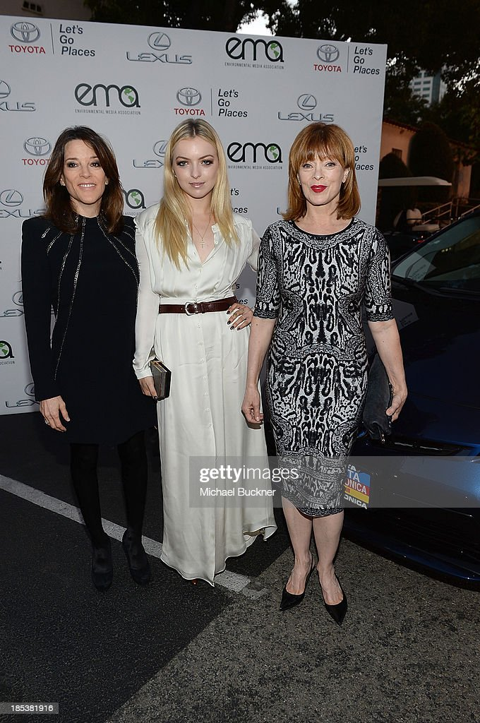 Marianne Williamson, Francesca Eastwood and <a gi-track='captionPersonalityLinkClicked' href=/galleries/search?phrase=Frances+Fisher&family=editorial&specificpeople=211520 ng-click='$event.stopPropagation()'>Frances Fisher</a> arrive at the 23rd Annual Environmental Media Awards presented by Toyota and Lexus at Warner Bros. Studios on October 19, 2013 in Burbank, California.