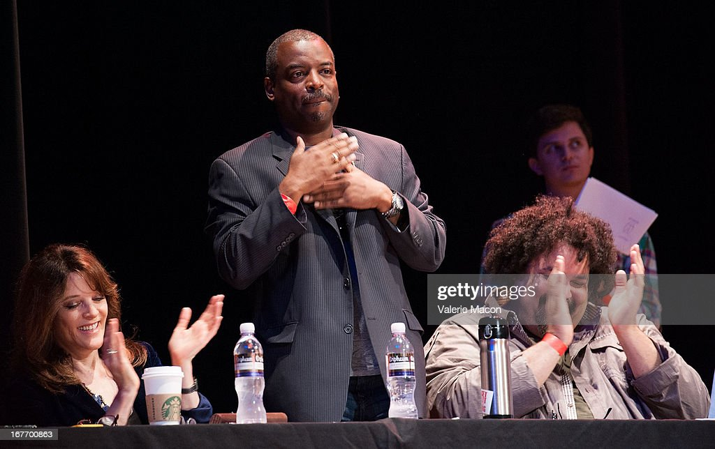Marianne Williamson, <a gi-track='captionPersonalityLinkClicked' href=/galleries/search?phrase=LeVar+Burton&family=editorial&specificpeople=241259 ng-click='$event.stopPropagation()'>LeVar Burton</a> and Jerry Quickley attend Get Lit Presents The 2nd Annual Classic Slam at Orpheum Theatre on April 27, 2013 in Los Angeles, California.