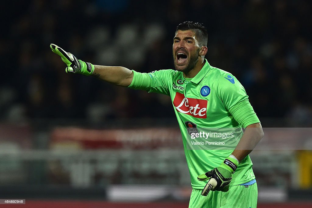 <a gi-track='captionPersonalityLinkClicked' href=/galleries/search?phrase=Mariano+Andujar&family=editorial&specificpeople=804546 ng-click='$event.stopPropagation()'>Mariano Andujar</a> of SSC Napoli reacts during the Serie A match between Torino FC and SSC Napoli at Stadio Olimpico di Torino on March 1, 2015 in Turin, Italy.