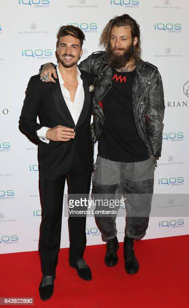 Mariano Di Vaio and Andrea Marcaccini attend a party for Mariano Di Vaio's blog on February 22 2017 in Milan Italy