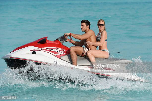 Mariano Di Vaio and Hofit Golan pose during the vacation at Hideaway Beach Resort Spa on January 30 2016 in Dhonakulhi Maldives