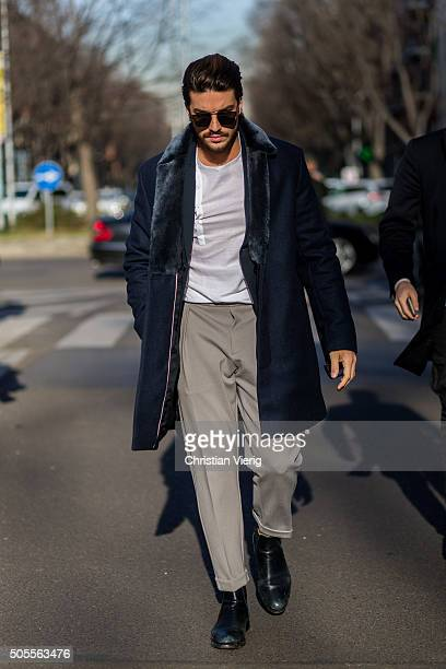 Mariano di Vaio outside Armani during Milan Men's Fashion Week Fall/Winter 2016/17 on January 18 in Milan Italy