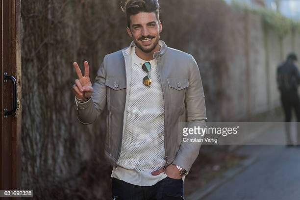 Mariano Di Vaio wearing a leather jacket is seen at Diesel during Milan Men's Fashion Week Fall/Winter 2017/18 on January 14 2017 in Milan Italy