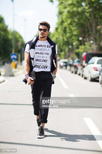 Mariano Di Vaio wears an Ermanno Scervino sweater Nohow shirt Roberto Cavalli pants and Mariano Di Vaio collection shoes during Milan Men's Fashion...