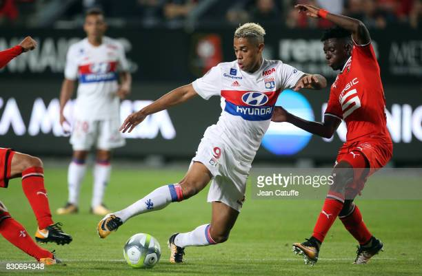 Mariano Diaz of Lyon and Hamari Traore of Stade Rennais during the French Ligue 1 match between Stade Rennais and Olympique Lyonnais at Roazhon Park...