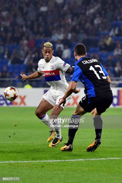 Mariano Diaz of Lyon and Mattia Caldara of Bergame during the Uefa Europa League match between Lyon and Atalante Bergame on September 28 2017 in Lyon...