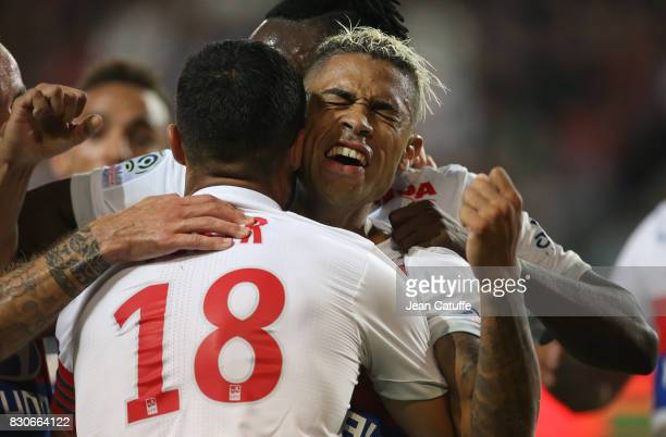 Mariano Diaz of Lyon celebrates his goal with Nabil Fekir and teammates during the French Ligue 1 match between Stade Rennais and Olympique Lyonnais...