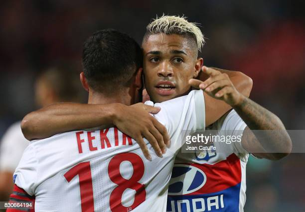 Mariano Diaz of Lyon celebrates his goal with Nabil Fekir during the French Ligue 1 match between Stade Rennais and Olympique Lyonnais at Roazhon...