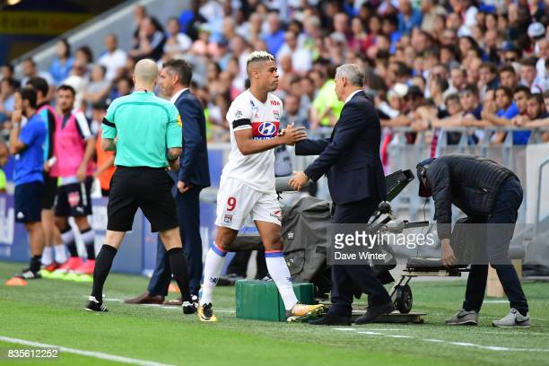 Mariano Diaz of Lyon is substituted by Lyon coach Bruno Genesio during the Ligue 1 match between Olympique Lyonnais and FC Girondins de Bordeaux at...