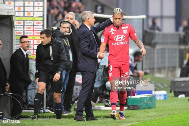 Mariano Diaz of Lyon is substituted by Lyon coach Bruno Genesio during the Ligue 1 match between Angers SCO and Olympique Lyonnais at Stade Raymond...