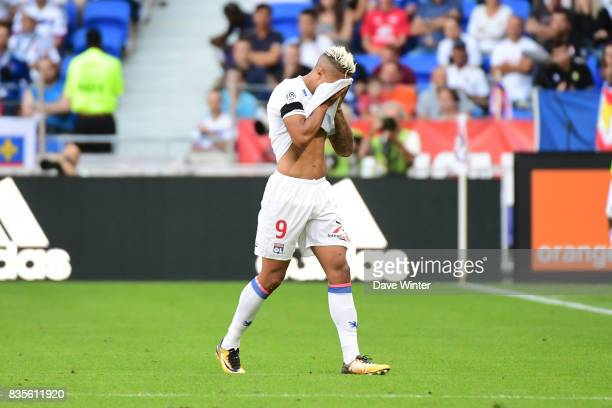 Mariano Diaz of Lyon is substituted during the Ligue 1 match between Olympique Lyonnais and FC Girondins de Bordeaux at Groupama Stadium on August 19...