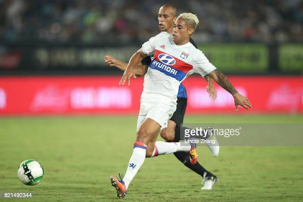 Mariano Diaz of Olympique Lyonnais competes for the ball with Joao Miranda of FC Internationale during the 2017 International Champions Cup China...