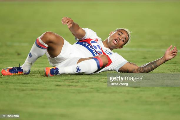 Mariano Diaz of Olympique Lyonnais reacts during the 2017 International Champions Cup China match between Olympique Lyonnais and FC Internationale at...