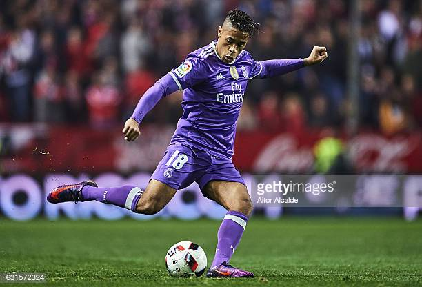 Mariano Diaz of Real Madrid CF in action during the Copa del Rey Round of 16 Second Leg match between Sevilla FC vs Real Madrid CF at Ramon Sanchez...