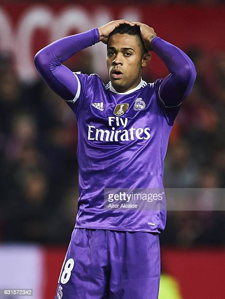 Mariano Diaz of Real Madrid CF reacts during the Copa del Rey Round of 16 Second Leg match between Sevilla FC vs Real Madrid CF at Ramon Sanchez...