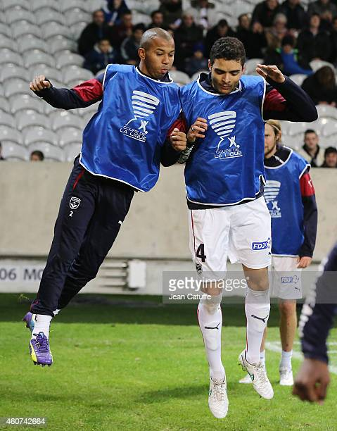 Mariano Ferreira Filho and Tiago Ilori of Bordeaux warm up prior to the French League Cup match between Lille OSC and Girondins de Bordeaux at Grand...