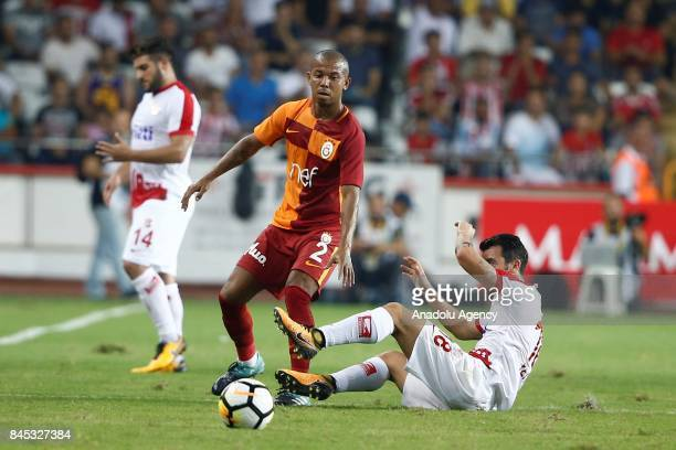 Mariano Ferreira of Galatasaray in action during the 4th week of the Turkish Super Lig match between Antalyaspor and Galatasaray at the Antalya...