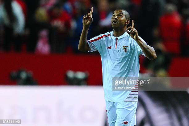 Mariano Ferreria of Sevilla FC celebrates after scoring his team's third goal during the UEFA Europa League Semi Final second leg match between...