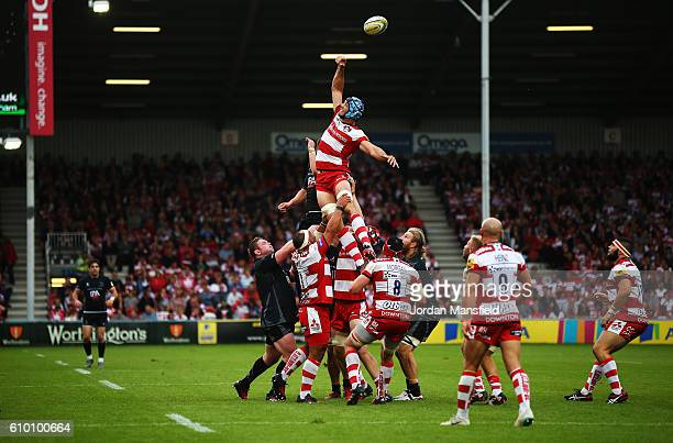 Mariano Galarza of Gloucester misses a lineout during the Aviva Premiership match between Gloucester Rugby and Newcastle Falcons at Kingsholm Stadium...