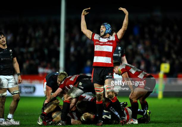 Mariano Galarza of Gloucester Rugby celebrates victory during the Aviva Premiership match between Gloucester Rugby and Saracens at Kingsholm Stadium...