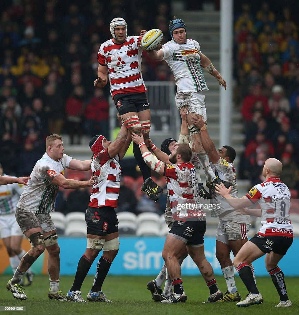 <a gi-track='captionPersonalityLinkClicked' href=/galleries/search?phrase=Mariano+Galarza&family=editorial&specificpeople=5905418 ng-click='$event.stopPropagation()'>Mariano Galarza</a> of Gloucester Rugby wins a linout from <a gi-track='captionPersonalityLinkClicked' href=/galleries/search?phrase=James+Horwill&family=editorial&specificpeople=637477 ng-click='$event.stopPropagation()'>James Horwill</a> of Harlequins during the Aviva Premiership match between Gloucester Rugby and Harlequins at Kingsholm Stadium on February 13, in Gloucester, England.