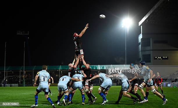 Mariano Galarza of Gloucester wins a lineout ball during the European Rugby Challenge Cup match between Worcester Warriors and Gloucester Rugby at...