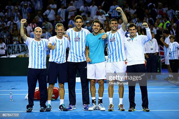 Mariano Hood Argentina team captain Daniel Orsanic Juan Martin del Potro Leonardo Mayer Federico Delbonis and Guido Pella of Argentina celebrate...