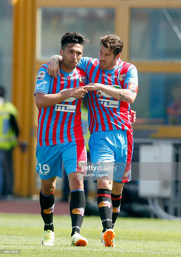 Mariano Izco of Catania celebrates with his teammate Lucas Castro after scoriing their second goal during the Serie A match between Calcio Catania...
